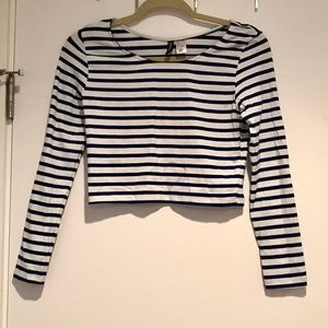 Cropped long sleeve cotton shirt